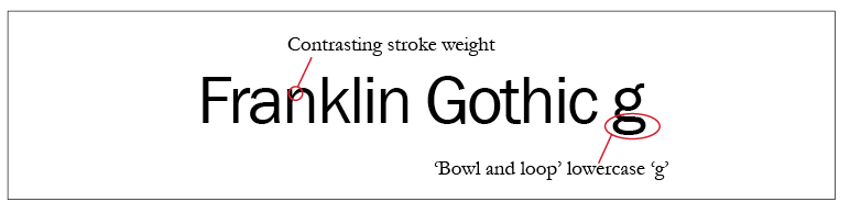 Franklin Gothic Typeface Style
