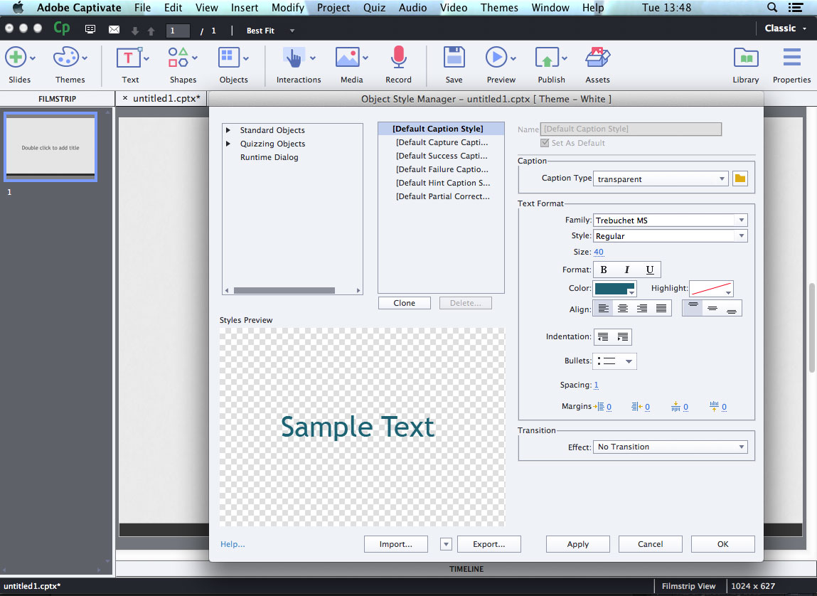 Interface of Adobe Captivate