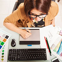 designer working at desk