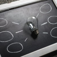 lightbulb idea on blackboard